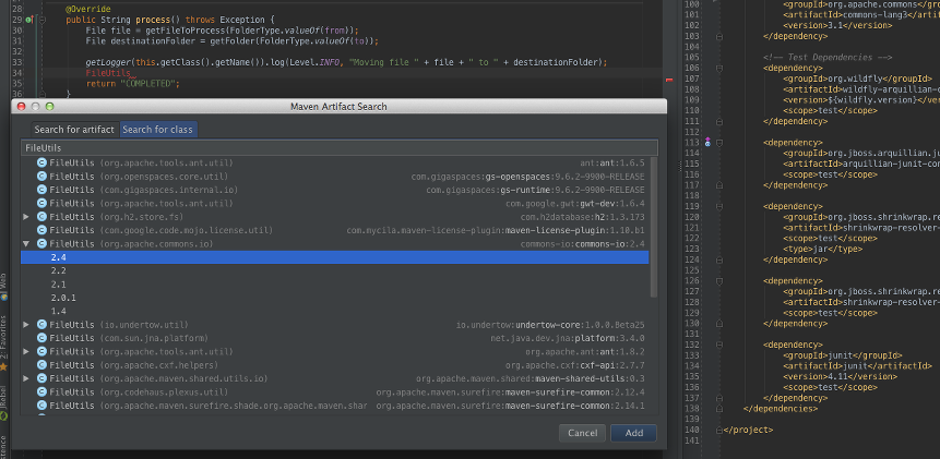 intellij-maven-dependency-add